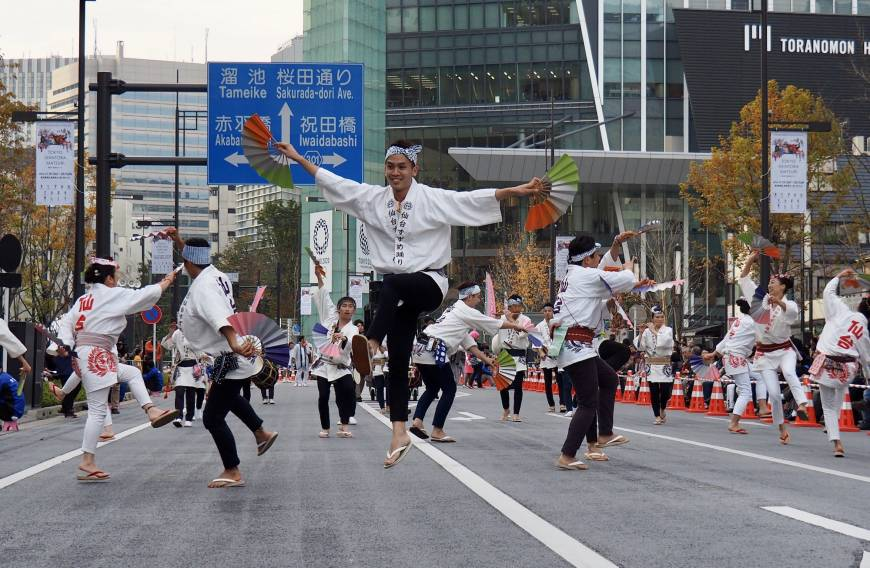 Dancers take to the air during a performance of Sendai Suzume Odori.