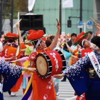 The Morioka Sansa Odori is said to have originated from a celebration dance for the god Mitsuishi, according to legend, saved the area from an evil demon. | MARK THOMPSON