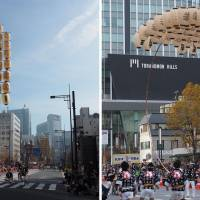 Left: A top-heavy tower of lanterns on bamboo poles is held aloft by performers of the Akita Kanto Matsuri. Along the parade route, men show their prowess by balancing the precarious load in a variety of ways. Right: The flexibility and strength of bamboo is exhibited as a performer struggles to upright a bending pole. Sometimes, though, gravity wins, and the pole breaks with a loud SNAP. | MARK THOMPSON