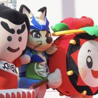 Among the visiting dignitaries at the opening ceremony of the Tohoku Rokkon Festival Parade were sundry mascots from Japan's northern region. | MARK THOMPSON
