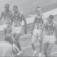 The U.S. 4x400-meter relay team (from left) Ulis Williams, Henry Carr, Mike Larrabee and Ollan Cassell is seen after its triumph at the 1964 Tokyo Olympics. Cassell went on to have a long and distinguished career in sports administration. | IOC