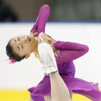 Kaori Sakamoto performs her free-skate routine at the Japan Junior Championships in Sapporo on Sunday. Sakamoto won the event with a total of 191.97 points. | KYODO