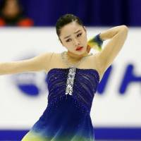 Wakaba Higuchi earned a fifth-place showing in the women's short program on Friday. | KYODO