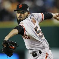 San Francisco reliever Sergio Romo played on three World Series championship teams for the Giants. | KYODO