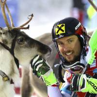 Veteran Hirscher leads 1-2 finish for Austria in World Cup slalom race