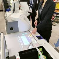 A fully automated register is seen at a Lawson convenience store in the city of Moriguchi, Osaka Prefecture, on Monday. | KYODO