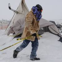 Shelters, casino take in pipeline protesters as blizzard hits, freezes yurts, teepees