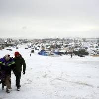 The Oceti Sakowin camp where people have gathered to protest the Dakota Access pipeline is seen Tuesday near Cannon Ball, North Dakota. | AP