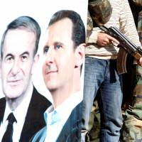 Syrian civilians volunteering to protect their neighborhoods alongside the Syrian Army attend training session near a picture of Syrian President Bashar Assad and his father, late former leader Hafez al-Assad, in Damascus in December 2015. | REUTERS