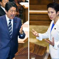 Abe defends policies as Renho launches scathing attack