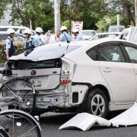 This Toyota Prius was hit by a car driven by a man in his 80s in the city of Gifu in September. | KYODO
