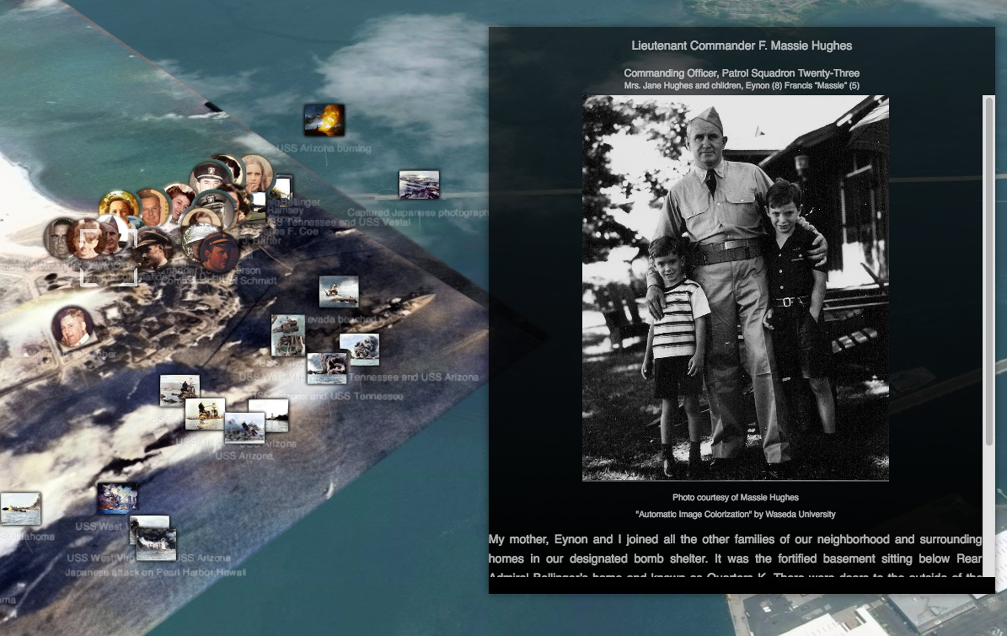 A screen shot from a website developed by a Japanese professor lets users browse through archived photos and comments from witnesses of the Pearl Harbor attack on Dec. 7, 1941. | TOKYO METROPOLITAN UNIVERSITY
