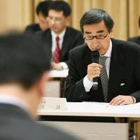 Fukui Gov. Issei Nishikawa speaks during a meeting with central government officials in Tokyo on Monday. | KYODO