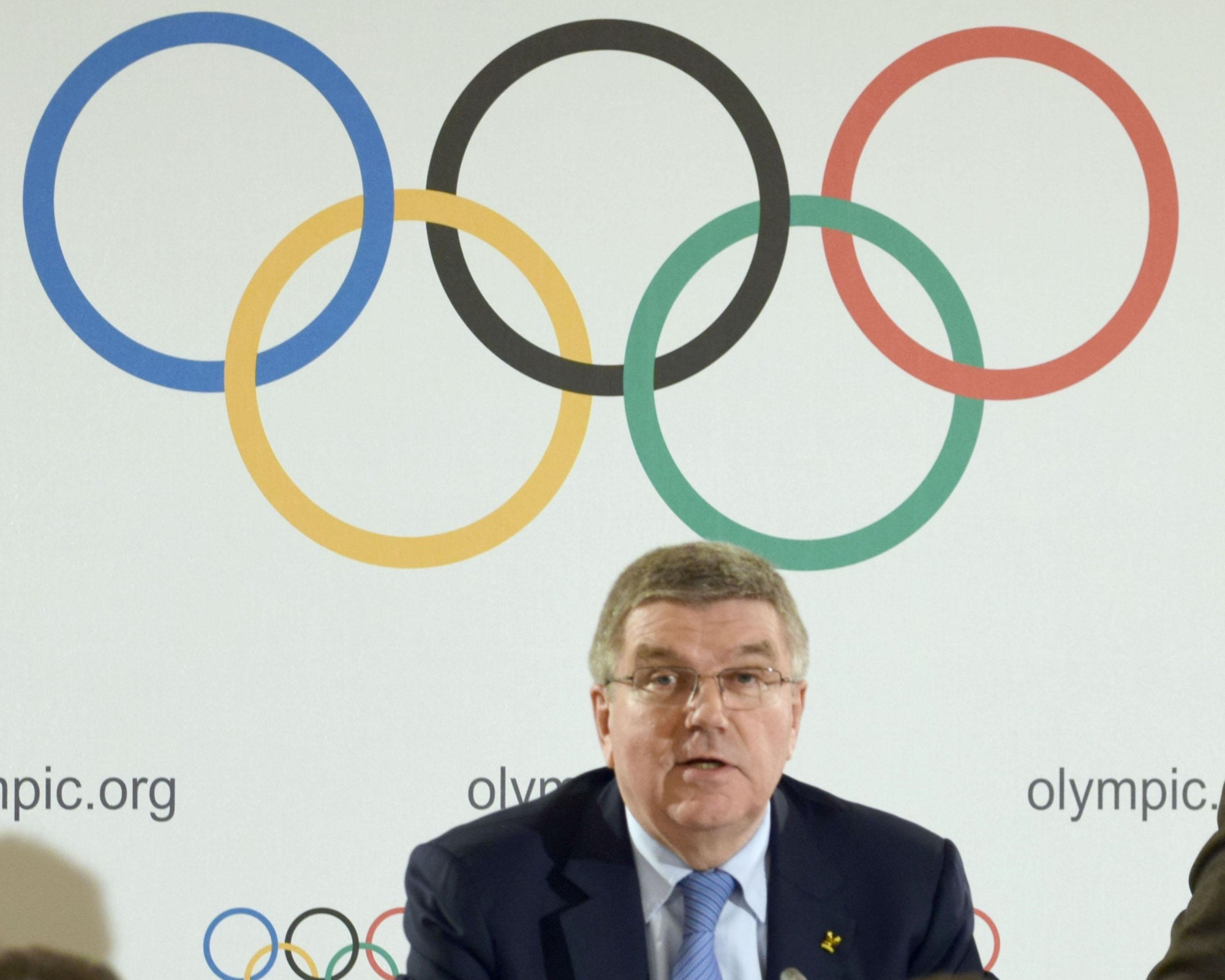 International Olympic Committee President Thomas Bach speaks in a news conference Thursday in Lausanne, Switzerland.   KYODO