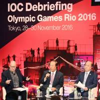 Tokyo 2020 organizing committee CEO Toshiro Muto speaks Wednesday at the end of a three-day Rio Games debriefing in Tokyo. | KYODO