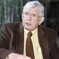 William Schull, a professor emeritus at the University of Texas, is interviewed in Nagoya on Nov. 4. | KYODO
