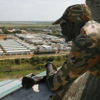 A Ground Self-Defense Force camp is seen in mid-November from a nearby building in South Sudan's capital Juba, where major fighting broke out between South Sudan government forces and rebel groups in July, killing 270 people. | KYODO