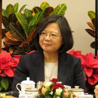 Taiwan President Tsai Ing-wen attends a new conference on Saturday in Taipei. | CENTRAL NEWS AGENCY/ VIA KYODO
