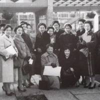 The first members of the Japanese Women's Association in Great Britain pose for this photo taken in 1956. The group celebrated its 60th anniversary and over the years has provided support to many Japanese women. | MERI ARICHI / VIA KYODO