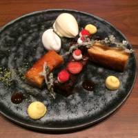 Dessert with a difference: a deconstructed tarte tatin, with the caramelized apple served separately from the tart crust.   ROBBIE SWINNERTON
