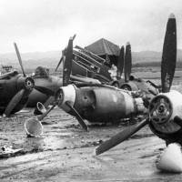 The Japanese attack damaged airplanes in Hickam Field, Hawaii. | KYODO