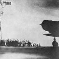 A Japanese fighter prepares to take off from an aircraft carrier in the Pacific before the air raid on Pearl Harbor, Hawaii, on Dec. 7, 1941. | KYODO