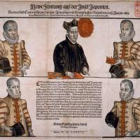 An illustration depicting members of the first Japanese Embassy to Europe in 1586. |  PUBLIC DOMAIN
