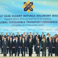 Political leaders and other representatives pose for a photo at the Global Sustainable Transport Conference in Ashgabat, Turkmenistan. | TURKMENISTAN EMBASSY