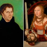 Left to right: Lucas Cranach the Elder's 'Martin Luther' (1525) and 'Judith with the Head of Holofernes' (c.1525-30) | BRISTOL MUSEUMS & ART GALLERY, © BRISTOL MUSEUMS, GALLERIES & ARCHIVES; © KHM MUSEUMSVERBAND