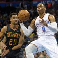 Hawks survive Westbrook's 46 to beat Thunder