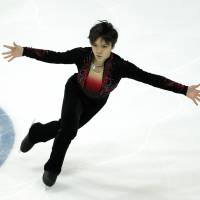 Shoma Uno performs at the Grand Prix Final on Saturday en route to a third-place finish. | AP