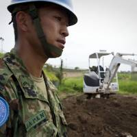 A Japanese engineer overseas work at the U.N. Mission in South Sudan (UNMISS), in Juba, South Sudan, on July 19, 2012.   UN PHOTO / STATON WINTER
