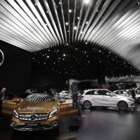 Mercedes-Benz cars are displayed at the North American International Auto show in Detroit on Monday.   AP