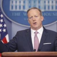 White House press secretary Sean Spicer speaks during the daily White House briefing on Monday, in the briefing room of the White House in Washington. | AP