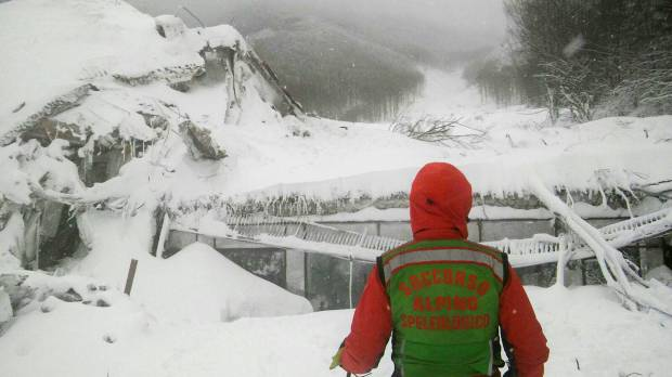 Rescuers arrive on skis, find no signs of life inside avalanche-hit Italian hotel