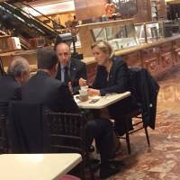 French far right leader Le Pen seen at Trump Tower but meetings with president-elect denied