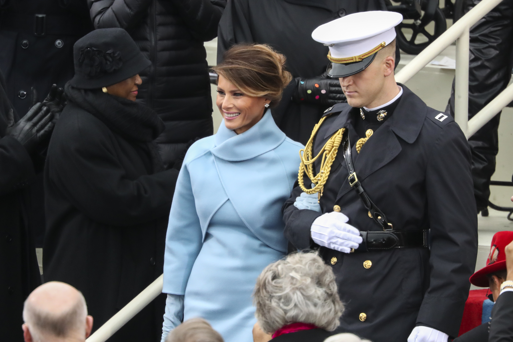 President-elect Donald Trump's wife, Melania, Trump arrives during the 58th Presidential Inauguration at the U.S. Capitol in Washington Friday. | AP