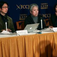 Nuclear researcher Hidetake Ishimaru (left), Noriko Matsumoto (center), a former resident of Koriyama, Fukushima Prefecture, and freelance journalist and author Chia Yoshida attend a news conference in Tokyo on Tuesday. | AFP-JIJI
