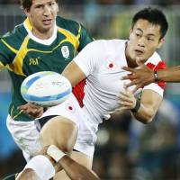 Rugby winger Kenki Fukuoka, one of the promising athletes for the 2020 Tokyo Olympics, represents Japan in the Rio de Janeiro Games last summer. | KYODO