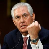 Rex Tillerson, the former chairman and chief executive officer of Exxon Mobil, testifies during a Senate Foreign Relations Committee confirmation hearing to become U.S. secretary of state on Capitol Hill in Washington Wednesday. | REUTERS