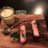 Appetizing appetizers: Rutabaga potage and red turnip stuffed with snow crab. | ROBBIE SWINNERTON
