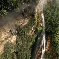 Honey harvest: Bon Ishikawa used a drone to capture footage of the collecting of honey from caves in the steep cliffs of the Himalayas in his documentary 'Sekai de Ichiban Utsukushii Mura.' | BON ISHIKAWA