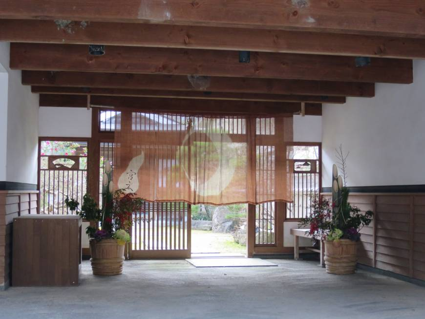 Noren hang in the entrance of a building in Katsuyama, Okayama Prefecture.
