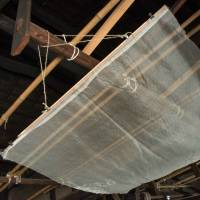 Transparent washi (traditional Japanese paper) is hung from the ceiling to dry at the Kubo Shotaro complex. | STEPHEN MANSFIELD
