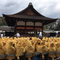 Racoon dog day: Hundreds of 'Eccentric Family' anime fans dress as tanuki to watch the blessing of the second season of the series at the Shimogamo Shrine in Kyoto.
