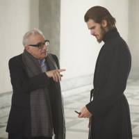 "Martin Scorsese and Andrew Garfield on the set of ""Silence"" 