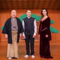 In tune: Noh master Umewaka Rokuro Gensho (left); the Celtic choir Anuna's leader, Michael McGlynn (center); and one of its soprano singers, Andrea Delaney. | © MASATAKA ISHIDA