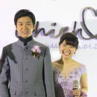 Ai Fukuhara and her husband, Chiang Hung-chieh, pose for a photo at their wedding ceremony in Taiwan earlier this month.   KYODO