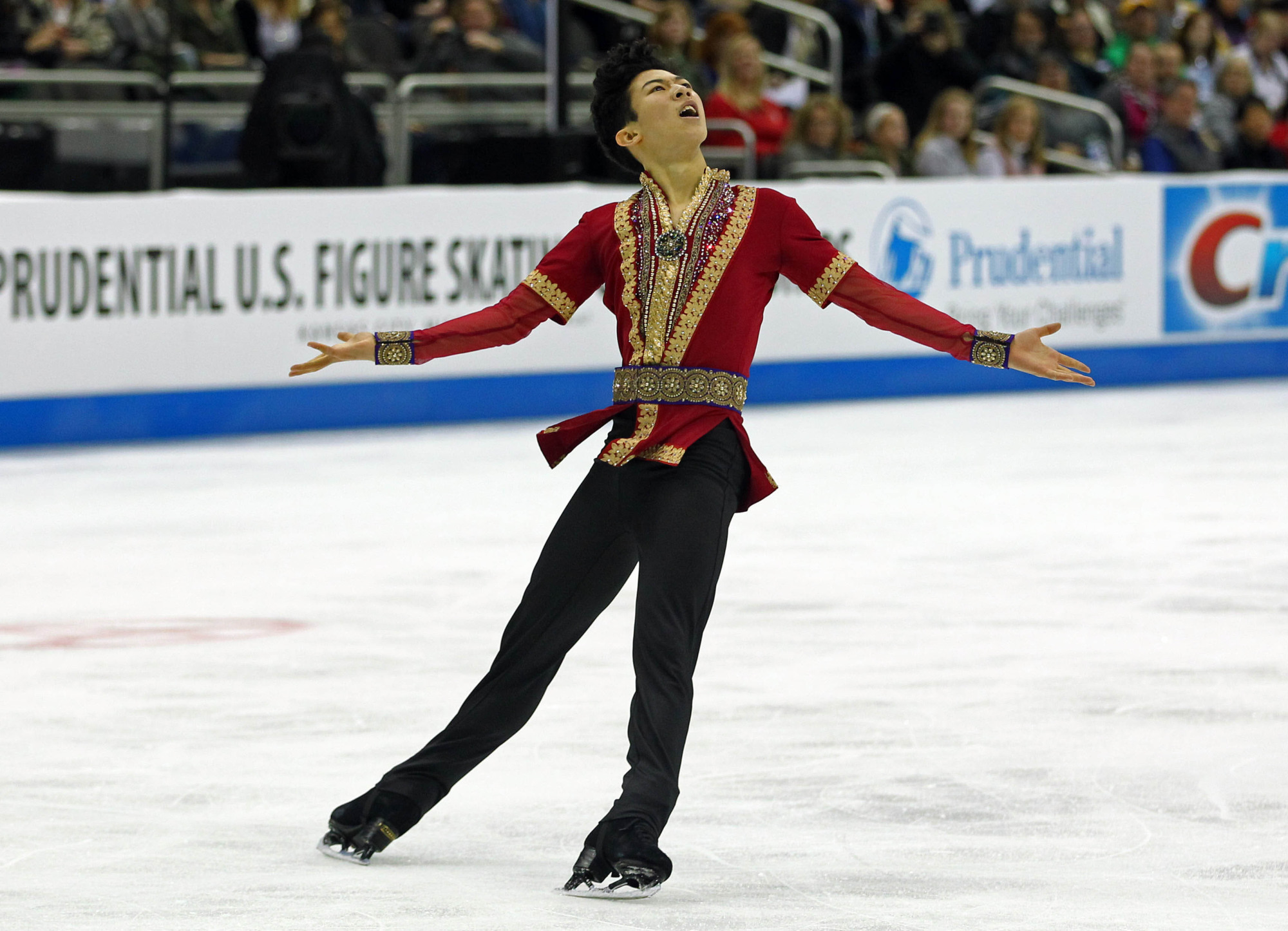 Nathan Chen cleanly landed five quadruple jumps during his free skate at the U.S. nationals on Sunday on the way to victory. | USA TODAY / VIA REUTERS