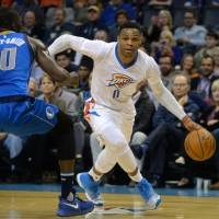 Westbrook pumps in 45 as Thunder down Mavs